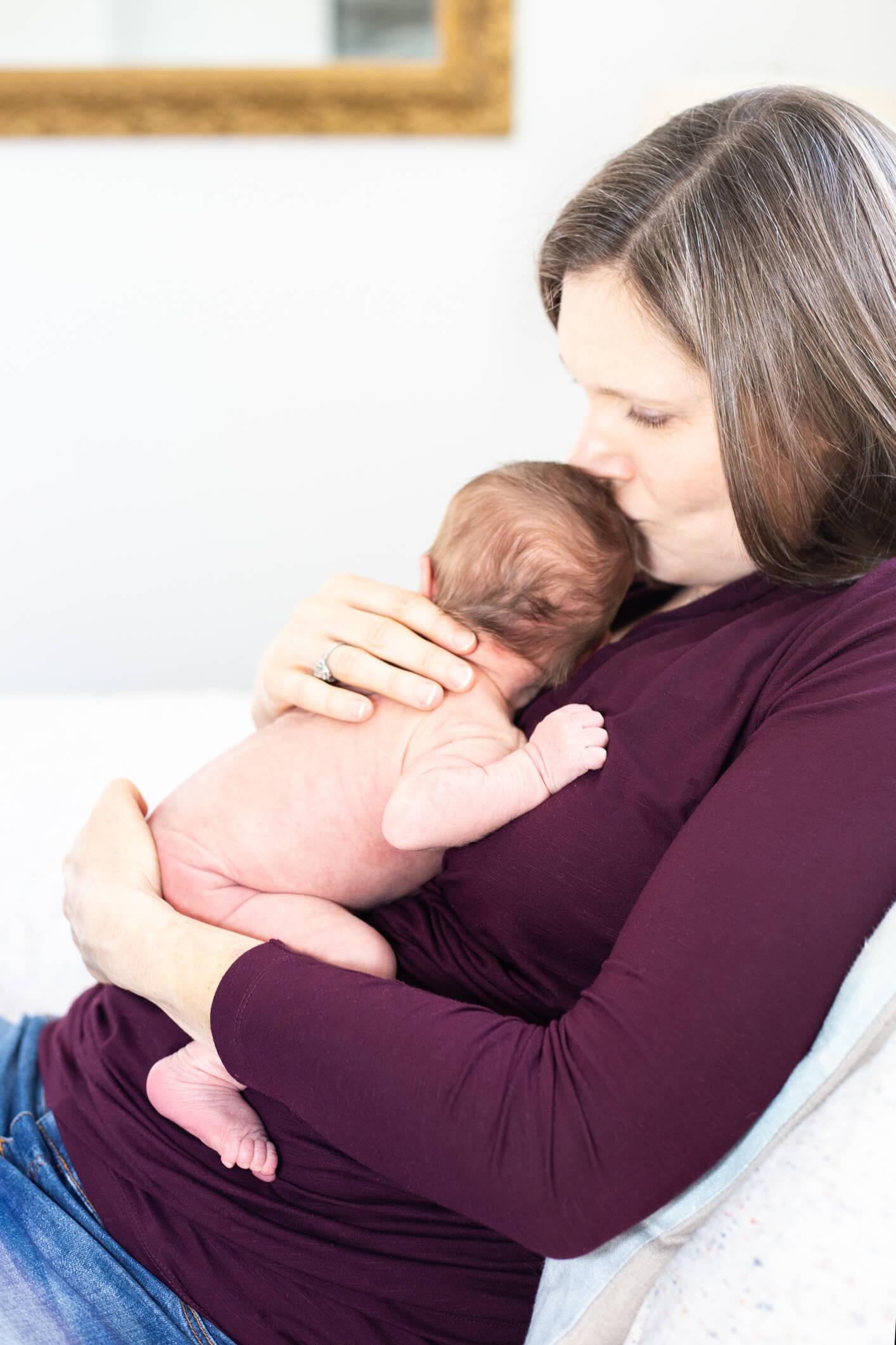 In Home Newborn Fine Art Portraits, Family Photographer Boston, mom 3